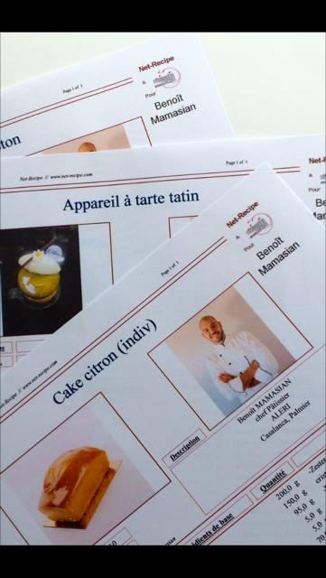 Recette de Benoît Mamasian avec le logiciel Net-Recipe